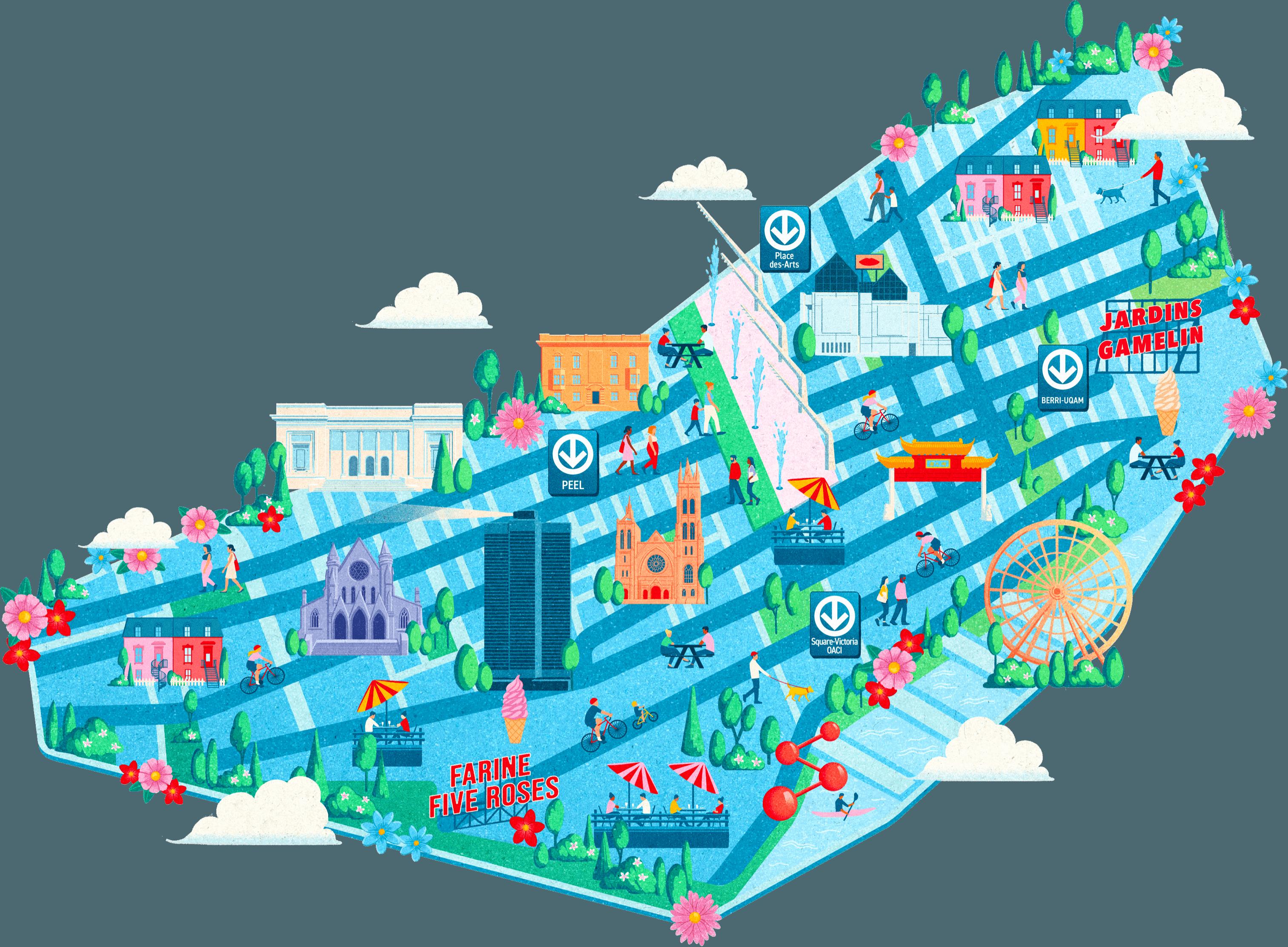 Carte de Montréal décorative